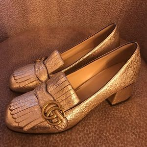 Gucci metallic loafers